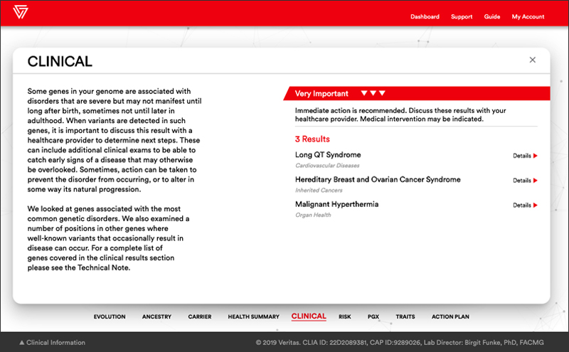 Veritas myGenome online report clinical section